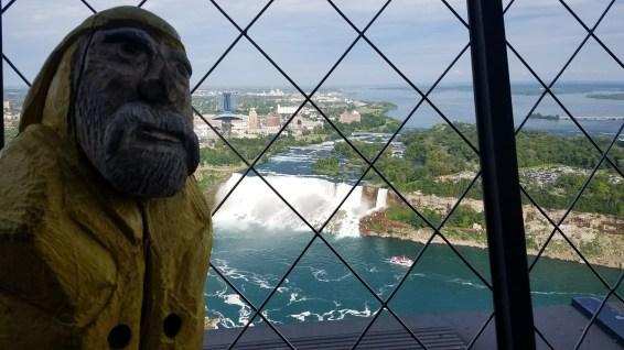 Captain Ahab of Ahab's Adventures planning his barrel ride from the Skylon Tower at Niagara Falls 2019