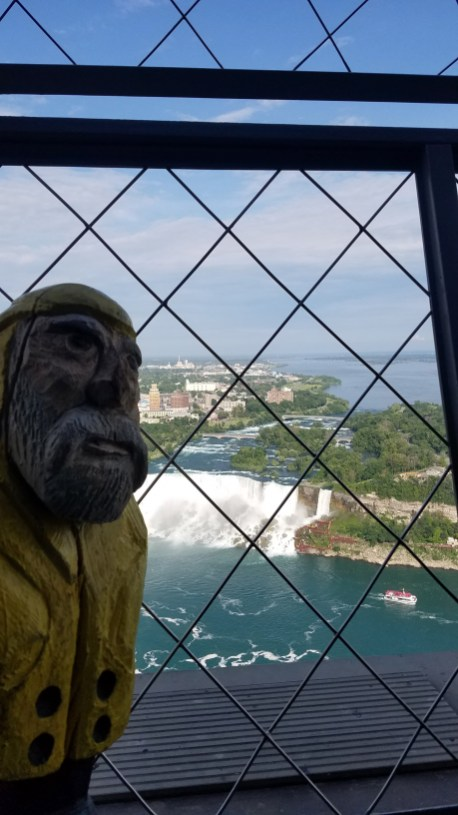 Captain Ahab of Ahab's Adventures planning his barrel ride from the Skylon Tower at Niagara Falls 2019