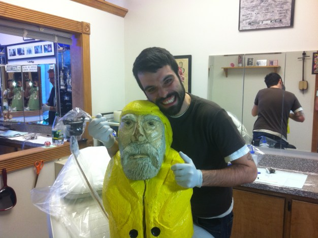 Captain Ahab of Ahab's Adventures getting at Tattoo at Living Art Studio in Northampton Massachusetts 2011