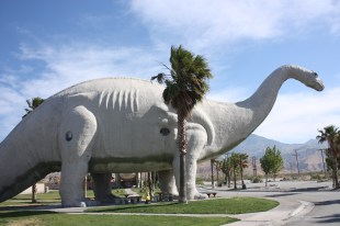 Captain Ahab of Ahab's Adventures visiting the Cabazon Dinosaurs in Cabazon California 2011