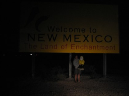 Captain Ahab of Ahab's Adventures entering New Mexico on his Cross Country Road Trip of 2006