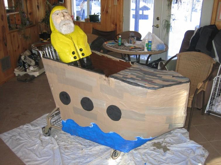 Captain Ahab of Ahab's Adventures building his Kart for the Washington D.C. Idiotarod 2007