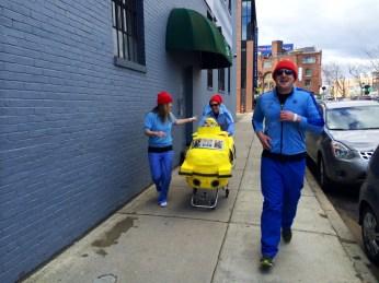 Captain Ahab of Ahab's Adventures with Team Zissou at the Boston Urban Iditarod 2015