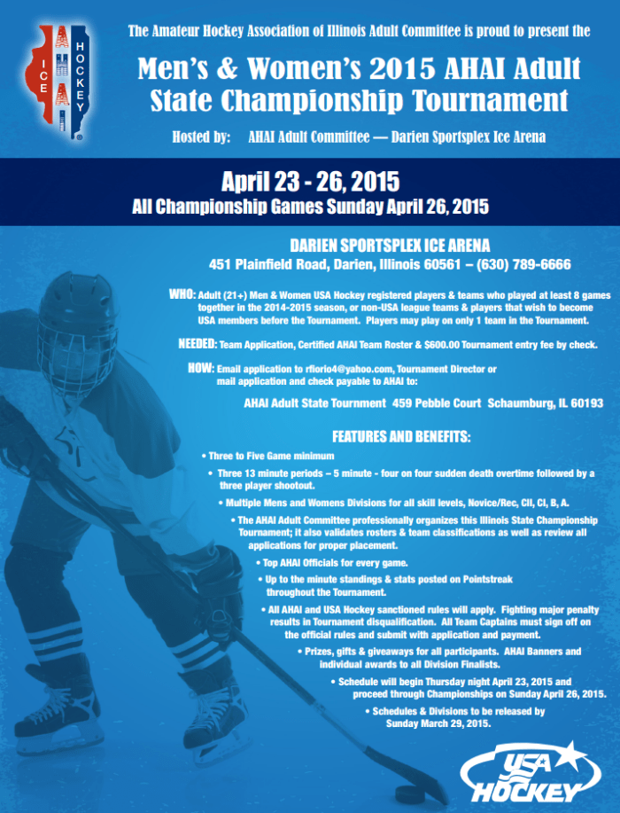 2015 Adult State Tournament Flyer