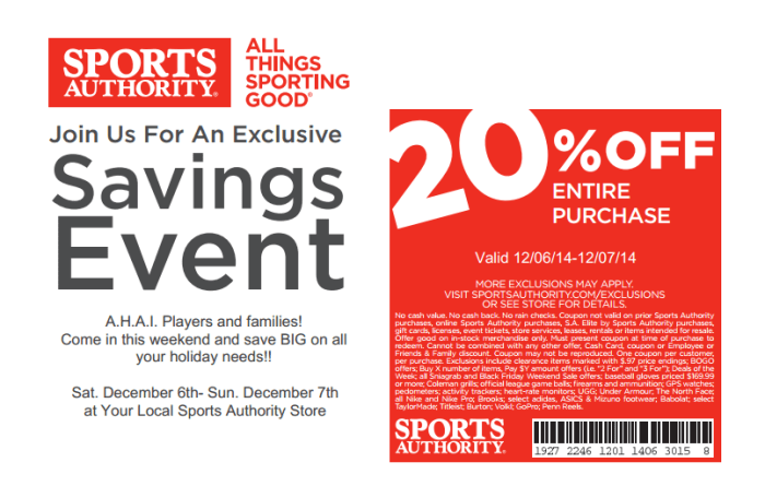 Sports Authority 2014 Holiday Coupon