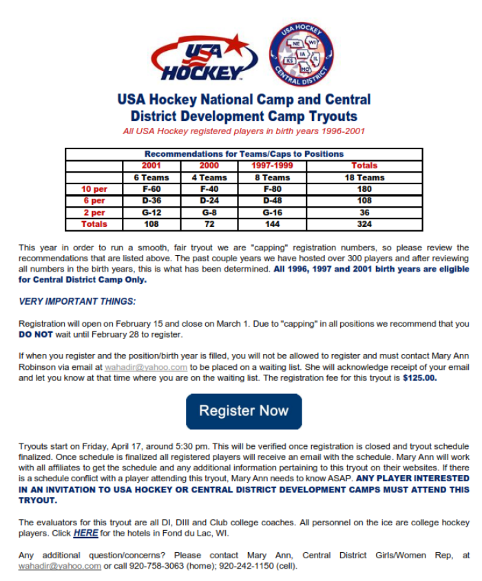 Central District Girls Tryout Camp