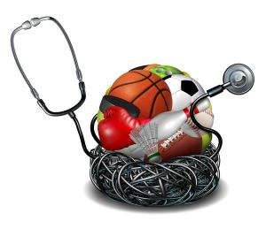 Sports medicine concept and athletic medical care symbol as a doctor stethoscope tangled around a group of sport equipment icons for soccer football basketball and baseball.
