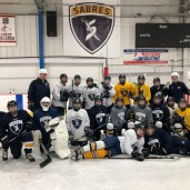 Dan Jablonic (USAH ADM Regional Manager) and Heather Mannix (USAH ADM Regional Manager of Female Hockey) with the Sabre Girls 14U and 19U teams at All Seasons Ice Rinks.