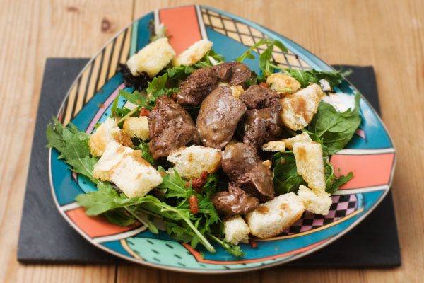 chicken liver salad croutons sherry vinegar