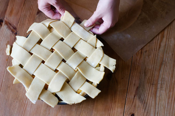 Spiced apple pie with bitters pie crust lattice pastry