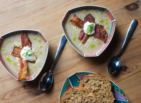 Baked potato soup jacket potato soup recipe chive oil crispy bacon sour cream cheese