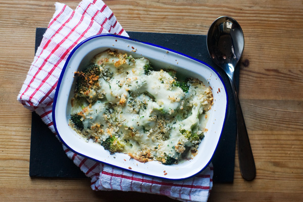 broccoli and stilton bake breadcrumbs new year