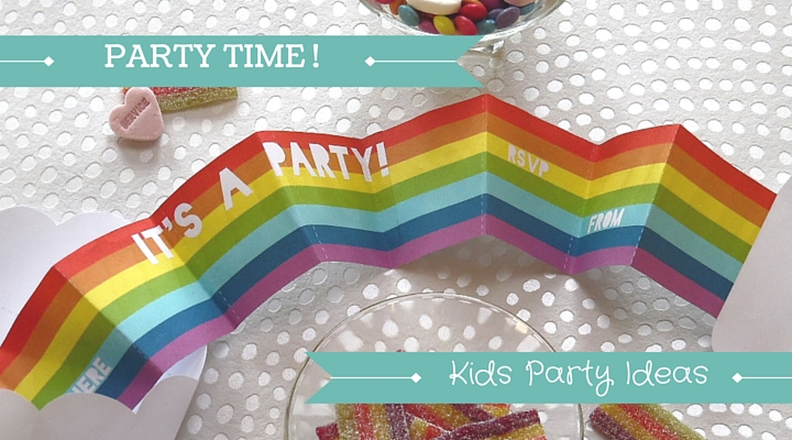 Image of free printable rainbow invite