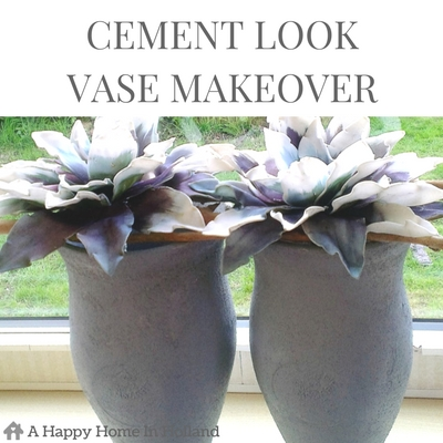CEMENT LOOK VASE MAKEOVER - A simple upcyle project to transform old fashioned vases into trendy home decor accents.