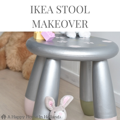 IKEA MAMMUT STOOL - See how old scratched ikea kids furniture can be simply transformed using metallic chalk paint.