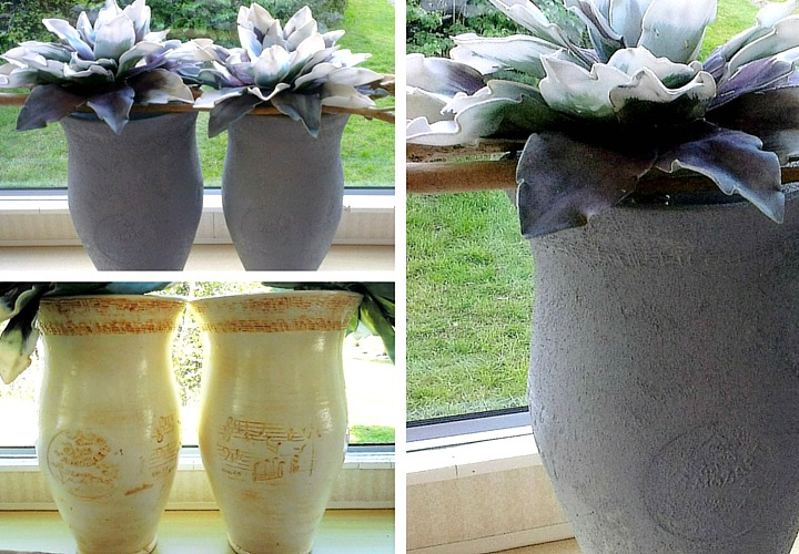 Images of large vases before and after a makeover with cement look paint