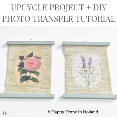 Make your own DIY wall art using an old roller blind plus this super easy photo and image transfer technique