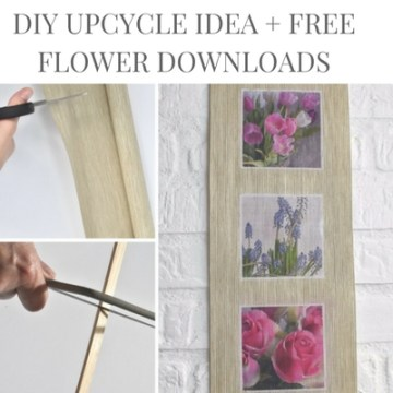 DIY Upcycle Project Using Mod Podge Photo Transfer Technique: Learn how to make this gorgeous piece of DIY wall art plus download the free flower photo printables