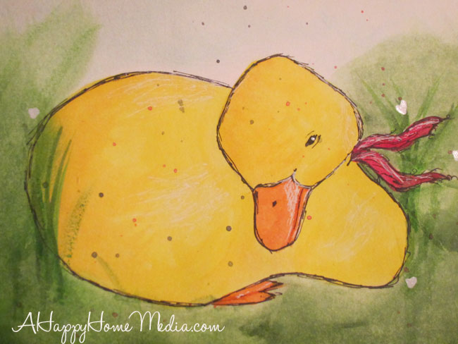 spring duckling watercolors art journaling