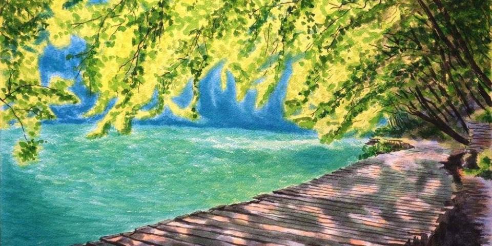 [那些畫水彩的日子] 普利特維采湖群國家公園 - 4開/水彩與壓克力
