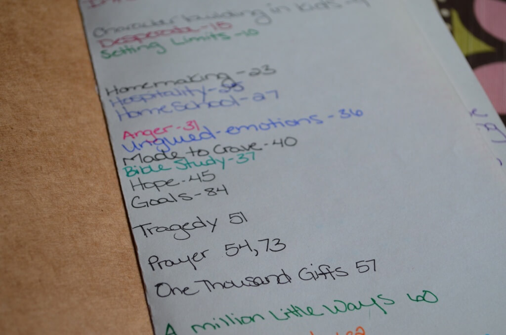 Table of contents on my commonplace book
