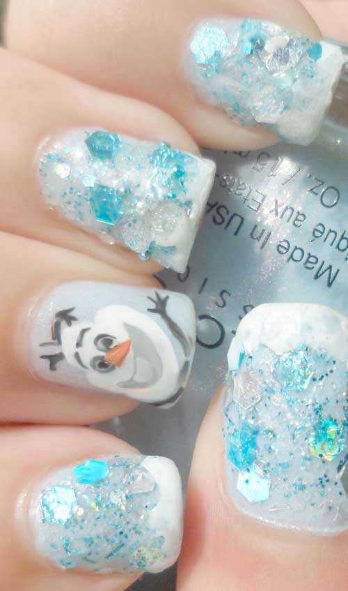 Nail tutorial for Frozen Olaf inspired nail art