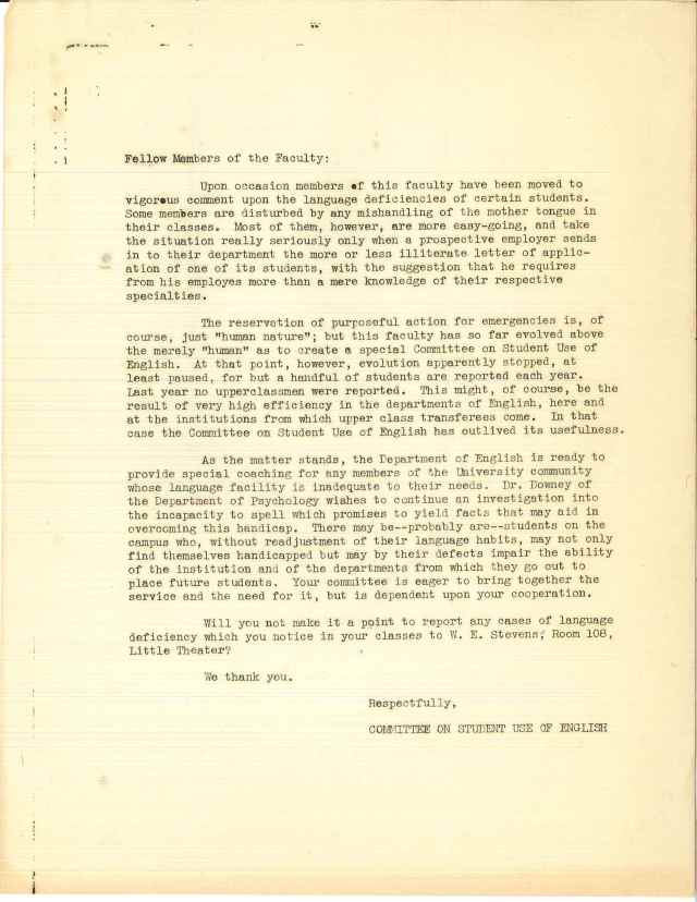 Letter to faculty from the Committee on Students Use of English, offering supplementary English coaching for those students in need of additional tutelage. Wilmer Stevens papers, Box 1, Folder 42.