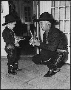 """Git 'em up, podner!""  Photo including in William Boyd scrapbook, Box 173, William Boyd Papers, #8038. UW American Heritage Center."