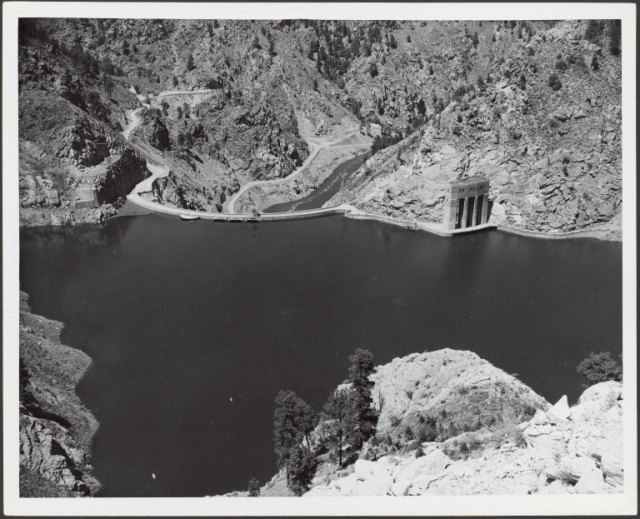This undated photograph shows the Seminoe Dam and Reservoir.  Visitors will agree--it looks very much the same today! Photofile: Dam-Seminoe. UW American Heritage Center.