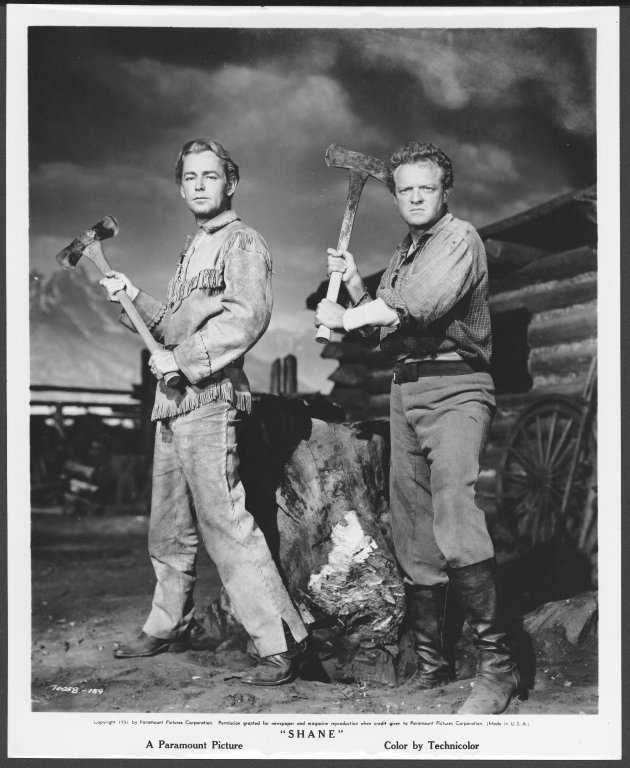 "Alan Ladd and Van Heflin posing for pictures from the film Shane"", 1951, University of Wyoming, American Heritage Center, Jack W. & Louise Schaefer Papers, Accession Number 00430, Box 25, Folder 9."""