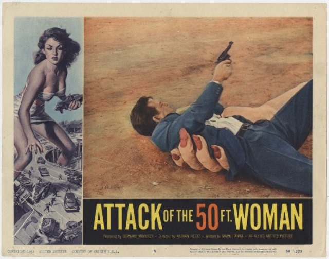 "Lobby card from ""Attack of the 50 Ft Woman,"" Box 141, Forrest J Ackerman Collection, # 2358. UW American Heritage Center."