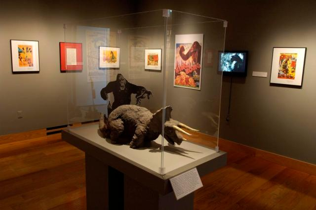 """The triceratops appears here with his """"King King co-star to give you a sense of his size in the film.  From the exhibit, """"Terror in the Theater: Fifties Fears,"""" on display at the UW Art Museum during the 2011 Fall Semester."""
