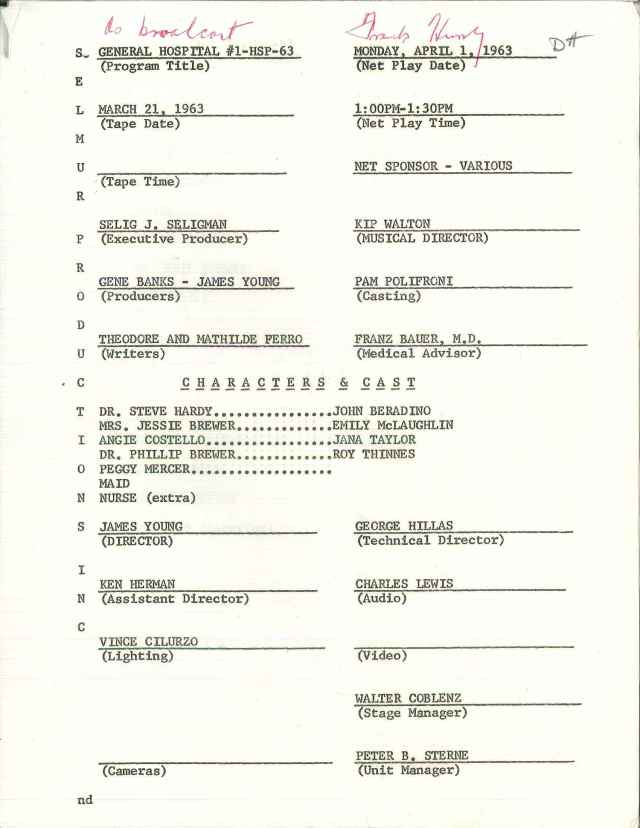 """First page of the very first """"General Hospital"""" script; this episode premiered on April 1, 1963.  Box 1, Frank and Doris Hursley papers, #2937.  UW American Heritage Center."""