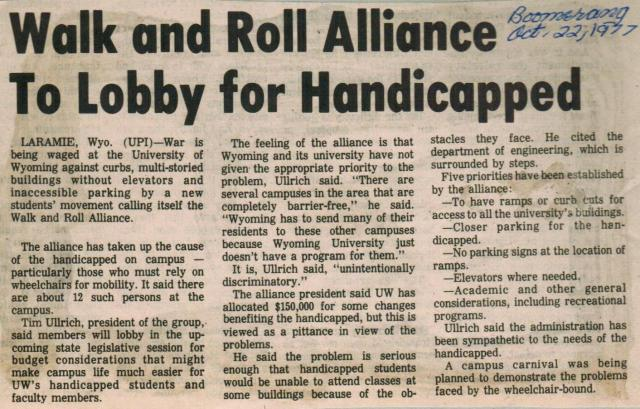 Newspaper clipping from scrapbook, 1977, box 3, folder 10