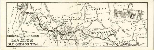 Map from postcard. Photofile: Trail-Oregon, folder #2. University of Wyoming, American Heritage Center.
