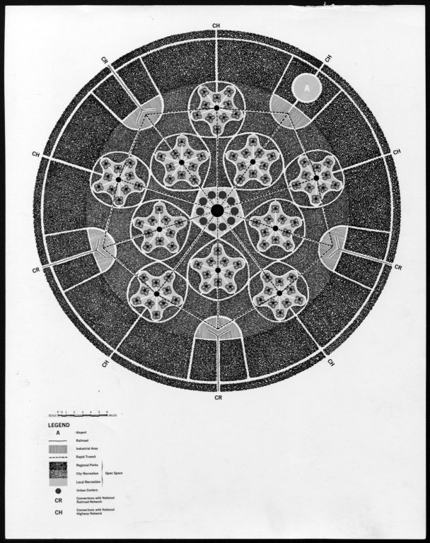 """Black and white photograph of a Victor Gruen architectural drawing. Taken from back """"Project: VG Book, Heart of our Cities."""""""