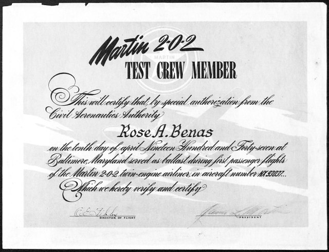 Ms. Benas Test Crew certificate. Rose A. Benas papers and Airlanes Magazines, Accession Number 09321, Box 4, Folder 2. University of Wyoming, American Heritage Center.