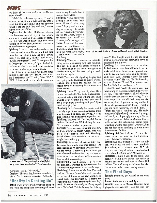 Premiere magazine interview p.88 box 41 jaws on location