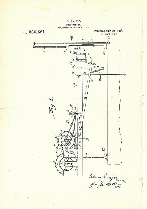 Patent-AutomaticDoorOpener_ElmerLovejoy_#176_box1