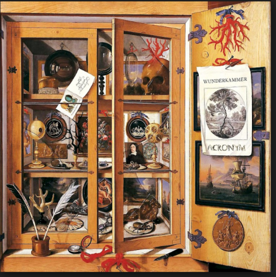 wooden cabinet, with lots of trinkets, photos, and collectibles.