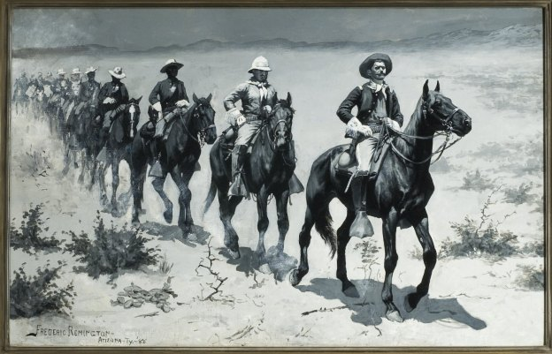 black and white painting of soldiers on horses marching in line in arid mountain climate