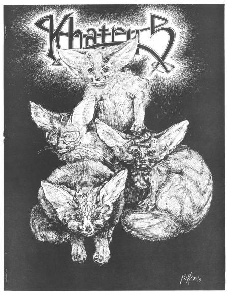 black and white magazine cover with drawing of four foxes