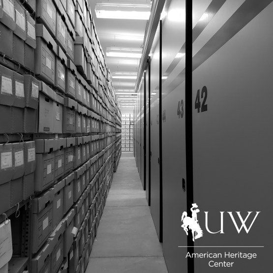 hallway of archival materials and shelving