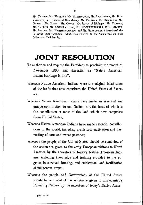 """joint resolution from U.S. Government for """"Native American Indian Heritage Month"""""""