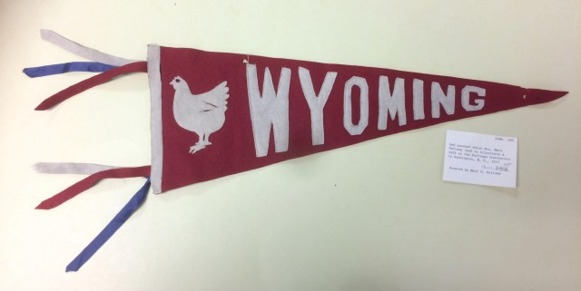 """red pennant with """"Wyoming"""" and a chicken"""