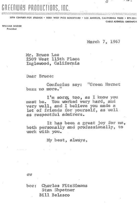 Green Hornet's Executive Producer William Dozier writes to Bruce Lee of the series' demise, March 7, 1967. William Dozier papers, UW American Heritage Center.