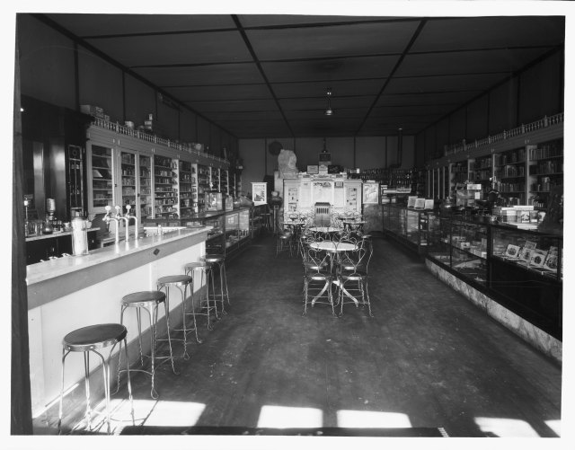 A Rock River, Wyoming, drugstore and soda fountain, 1919. Businesses such as this would have supplied residents with medicines, but probably would have seen few customers for the soda fountain. Ludwig & Svenson Photograph Collection, Accession Number 167.