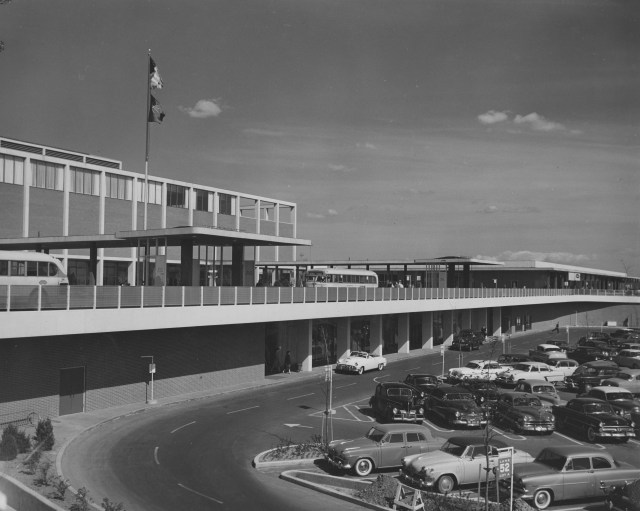 Architect Victor Gruen designed Detroit's Northland Shopping Center as an open-air pedestrian mall with arrayed structures. The mall opened on March 22, 1954. Victor Gruen papers, American Heritage Center, University of Wyoming.