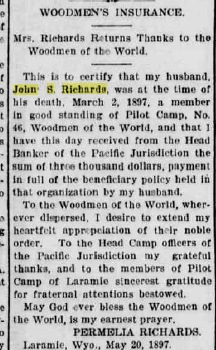 Newspaper posting showing a note of thanks to Woodmen of the World for a $3,000 insurance payout in 1897 to a Laramie widow.