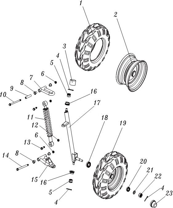 Front Wheel Rim & Tyre for Hammerhead Mudhead Buggy